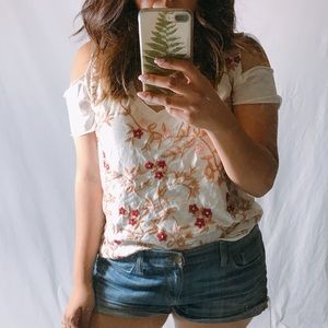 {LUCKY BRAND} Embroidered Cold Shoulder Tee